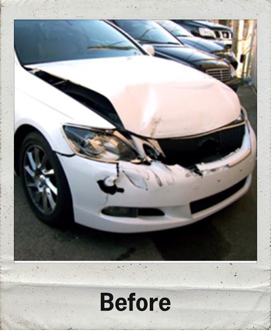 before and after photos of damaged car we fixed